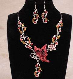 Wholesale Necklaces Earring Sets Bib - Jewelry Butterfly Flower Rhinestone Pendant Bib Statement Necklace EarringS Sets Brand New Good Quality Free Shipping