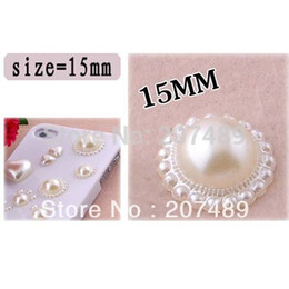 Wholesale Diy Jewelry For Phone Cases - Wholesale-DIY white flower pearl 15mm Artificial beads for cellphone mobile phone cases scrapbook jewelry decorations nail art whcn