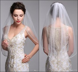 Wholesale Short Veil Pearls - One Layer Bridal Wed Veils With Comb White And Ivory Wedding Veil Cathedral Tulle Beaded Short Wedding Veil