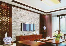 Fondos de pantalla vivos online-10 metros / lote estilo chino comedor papel tapiz 3D piedra ladrillo diseño fondo pared papel tapiz de vinilo papel tapiz moderno para sala de estar