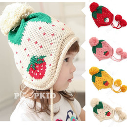 Wholesale Knitted Strawberry Girls Hat - FreeDHL Winter Strawberry Children's Caps With Earmuffs Warm Wool Knitted Kids Hats Baby Hat Boy Girl Children Cap E79L