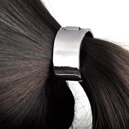 Wholesale Ponytail Wraps - Wholesale-Fashion Punk Rock Metal Circle Ring Hair Cuff Wrap Ponytail Holder Band 2 Colors