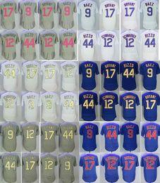 Wholesale Kris Bryant - 2017 Men's Jersey 17 Kris Bryant 44 Anthony Rizzo 9 Javier Baez 12 Kyle Schwarber Flexbase Gold Baseball Jerseys