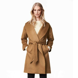 Wholesale Cheap Woolen Coats Women - Classic Elegant OL Work Wool & Blends Coats With Belt Slim Trench Outwear Full Length Autumn Spring 2016 New Style Coats Cheap