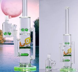 Wholesale Top Dhgate - Two Functions Dhgate Flow Double Glass Bongs Water Pipes Joint 14.4mm Tall 34cm Bong Top Quality Recyler Oil Rigs For Smoking Unique