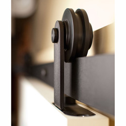Wholesale Barn Sliding Door Track - 5 6 6.5 7.5 8FT Black Country Roller Modern Sliding Wood Barn Door Hardware Interior Antique Single Closet Track Kit American Style