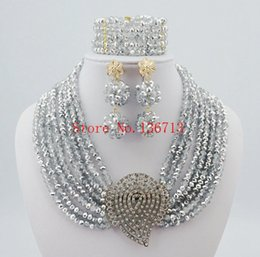 Wholesale Red Dinner Wedding Dress - New year big sale! Classic Orange red blue Nigerian african beads jewelry set sets in wedding party dinner dress for women SY804-8