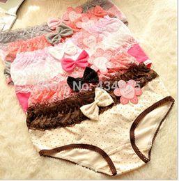 Wholesale Cartoon Women S Panties - FG1509 Free shipping(5pcs lot) Cartoon underwear Fresh cotton dot bow lace underwear ladies underwear fashion Panties for women