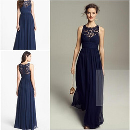 Wholesale Empire Blue Lace Dress - 2015 Navy Blue Bridesmaid Dresses Chiffon Long Floor Length Empire Waist Maid of Honor Jewel Neck Sheer Zipper Lace Back Honor Bridal Gowns