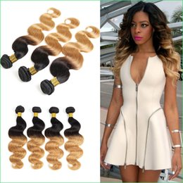 """Wholesale Celebrity Human Hair - Celebrity Ombre Blond Body Wave Hair Sew-in Weaves,Flattering Dip-dye 1B 27 Ombre Peruvian Body Wave Virgin Human Hair Weft Extension 10-30"""""""