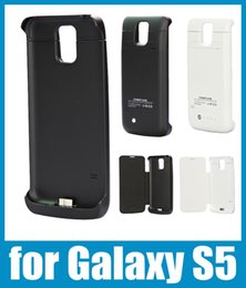 Wholesale External Battery Flip Case - 3800mah phone case power bank 2 in 1 external battery charger case for samsung galaxy s5 power bank backup potable leather flip case BAC012