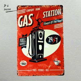 Wholesale Full Metal Gas - DL-Metal sign vintage Retro Shabby chic Gil Elvgren GAS station Full service Tin garage wall plaque