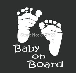 Wholesale Decals For Glass Doors - (50 pieces lot ) Wholesale Cute Baby on Board foot Car Styling vinyl stickers decals for wall glass laptop car accessories