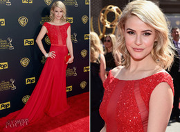 Wholesale Emmy Celebrity Dresses - Cheap Red Celebrity Dresses 2015 Inspired By Emmy Awards Off Shoulder Capped Sleeves Sheer Sequins Beaded Chiffon with Belts Evening Dresses