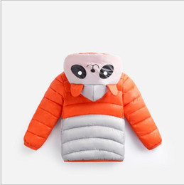 Wholesale Baby Panda Jacket - Autumn and Winter baby children hooded cotton - padded coat cartoon panda light wear Solid color small boys and girls jackets 5 colors