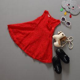 Wholesale Girl Vest Lace Dress Winter - Baby Kids Children's Girls Lovely Sleeveless Lace Vest Skirt Princess Dress Baby Girl Summer Dress Party Dress 3 Colors
