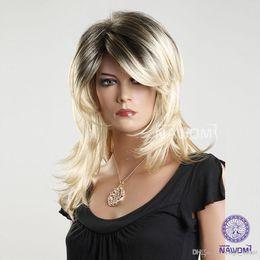 Wholesale Kanekalon Hair Blonde - root color women wigs medium long blonde hair wigs 2014 new arrival Synhetic fiber of 100% Kanekalon 1pc Lot Free Shipping 0729ZL1016-24BR6