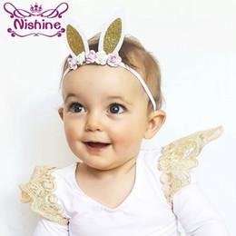 Wholesale Nylon Infant Headbands - Nishine New Newborn Infant Rose Flower Nylon Headband Children Rabbit Ears Elastic Hair Bands Girls Headwear