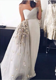 Wholesale Strapless Peplum Dresses - 2015 Sheath Evening Dresses Sweetheart Neckline Strapless Pleated With Hand-made Flowers Peplum Floor Length Occasion Gowns