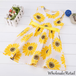 Wholesale Sunflower Prints - Hot 2015 Fashion Girls Sunflower Dresses Pattern A-Line Belt Casual Sleeveless Flower Print Summer Kids Baby Clothing Dress Yellow SV014345