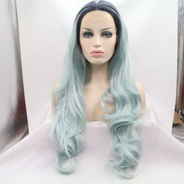 Wholesale Two Toned Blue Lace Wig - Long Dark Roots Ombre Blue Hair Wigs Synthetic Lace Front Wig With Heat Resistant Two Tone Glueless Replacement Wigs