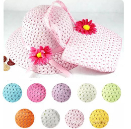Wholesale Beach Hats Bags - Girls Kids Beach Hats Bags Flower Straw Hat Cap Tote Handbag Bag Suit Children Summer Sun Hat 54CM For 3-7 years Free Shipping