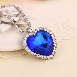 Wholesale Crystal Heart Ocean Titanic - Romantic Heart Of Ocean Pendant Necklace Titanic love Crystal Blue Silver pendants for women Fashion Jewelry 160573