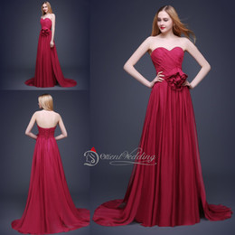 Wholesale Dress Purple Metal - Sexy In Stock Real Picture Best Quality Sweetheart Prom Dresses Burgundy Metal Belt Fashionable Long Evening Party Dresses
