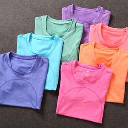 Wholesale Dry Fit Shirts Women - High Quality Women's Quick Dry Running Fit Sweater Sweatshirts Aerobics Fitness Exercise Yoga Gymnastics Half Sleeve T-shirt Yoga Shirts