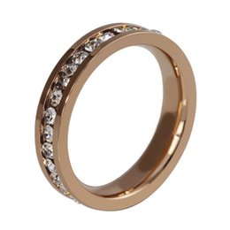 Wholesale stainless steel eternity - ORSA 2017 New Luxury Titanium Steel Eternity Crystal Ring for Men Women Couples Jewelry Accessories OTR35