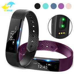 Wholesale Pulse Pink - ID115 HR Smart Bracelet Fitness Heart Rate Tracker Step Counter Activity Monitor Band Alarm Clock Vibration Wristband With TianTian APP