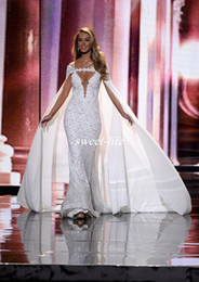 Wholesale White Chiffon Bridal Cape - Chic Miss Universe Pageant Evening Dresses with Cape Off Shoulder Mermaid Lace Sequins 2016 Berta Wedding Bridal Gowns Celebrity Prom Dress