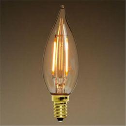 Wholesale Led Candelabra Dimmable - Dimmable LED Filament Bulbs Light E12 E14 E27 LED Candle Bulbs 2W 4W 110-220V C35T C35 Filament Candelabra Edison Filament Flame Tip Bulbs