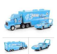 Wholesale Pixar Cars Free Shipping - Pixar cars 2 Diecast THE KING Hauler Mack cars plastic truck+NO.43 small king racing toys for children Free Shipping 2Pcs Lot