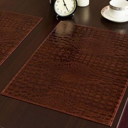 Wholesale Coffee Tables European Style - Leather Placemat European Style Crocodile Pattern Table Mat Insulation Pad Mats Decorative Coffee Coasters Free Shipping ZA5316