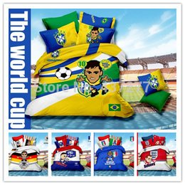 Wholesale Boys Twin Size Comforter - Boys Soccer Cartoon character Reactive printing cotton duvet cover set for queen size 5pc comforter bedding sets with bed sheet