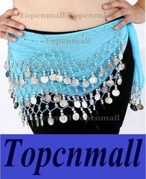Wholesale Wholesale Belly Dancing Hip Scarves - DHL Fedex Free Shipping 12 Colors 3 Rows 128 Gold Coins Belly Egypt Dance Hip Skirt Scarf Wrap Belt Costume