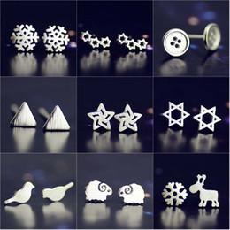 Jóias de ovelhas on-line-925 Sterling Silver brincos do cervo estrela de neve ovelhas botão Diamantes Belas Jóias Coroa de Casamento brincos de Fábrica vendas melhores presentes