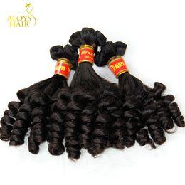 Wholesale Brazilian Natural Curl Weave - Brazilian Aunty Funmi Virgin Hair Unprocessed Raw Virgin Brazilian Funmi Hair Weaves Bouncy Spiral Romance Curls 100% Human Hair Extensions