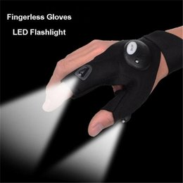 Wholesale Wholesale Fingerless Magic Gloves - Outdoor Fishing Gloves Magic Strap With LED Lights Sports Golves Emergency Flashlight Torch Cover Survival Camping Hiking Lights