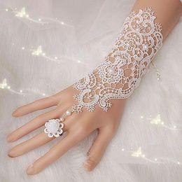 Wholesale Fingerless Wedding Gloves Sale - Free Shipping New Hot Sale Fashion White, Ivory Pearl Lace Wedding Bride Bridal Gloves,Ring Bracelet