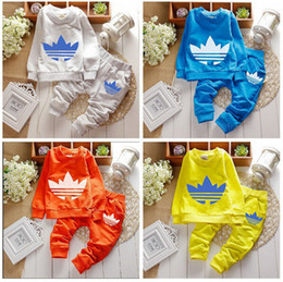 Wholesale Yellow Boys Trousers - 2017 fashion new autumn winter Children Tracksuit casual kids clothes sets boys and girls hoodie and coat+trousers
