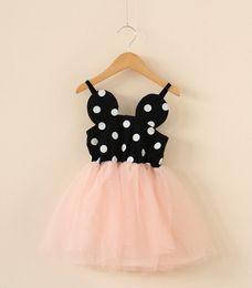 Wholesale Waist Tutu Dress - 3 Color Girls Polkar Dot slip dress Lace tulle dresses Smocked Waist Lace Mini Dresses One-piece Suspender Dress sz100-140