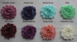 Wholesale Chiffon Rose Trim - Epacket Cpap 30y 67 Colors 2 .5'' Chic Shabby Frayed Chiffon Rose Flower Trim for Girl Hair Accessories Solid Headbands Fashion Headwear