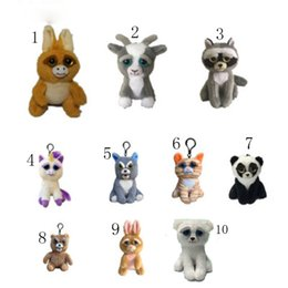 Wholesale Cartoon Stuffed - New Feisty pets backpack Pendant cartoon Feisty pets plush toys keychains 10cm Stuffed Animals key ring C3298