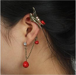 Wholesale Antique Cluster Earrings - HOT NEW RED  TURQUOISE ANTIQUE SILVER  GOLD FREE FLAPPY BIRD EAR CUFF STUD EMO PUNK GOTH EARRING FAB GIFT