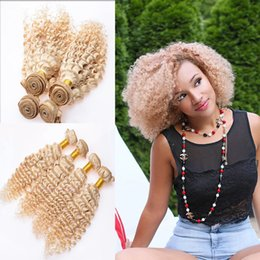 Wholesale Blonde Deep Wave Remy Extensions - Bundle Deal 100% Brazilian and Peruvian Kinky Curly Hair Weave Extensions 8-30'' 613 Blonde Deep Curly Wave Virgin Remy Human Hair Weft 300G