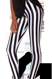 Wholesale Beetlejuice Pants - New Arrival women leggings fashion Beetlejuice Leggings Black white vertical stripe print pants woman legging sport fitness