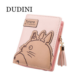Wholesale pink animations - Wholesale- DUDINI New Fashion Women Wallet Cartoon Animation Small Leather Wallet Cute Totoro Tassels Zipper Clutch Coin Purse Card Holder