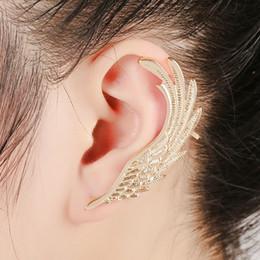 Wholesale Angels Clips - Angel Wings feather silver gold ear clips earrings for women ear Punk Jewelry Gift Girl ear cuff earrings KX